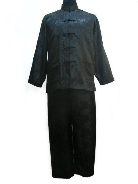 Frete grátis! Conjuntos De Pijama De Cetim de Poliéster dos homens jacket preto Calças Pijamas roupa TAMANHO S M L XL XXL XXXL M3021