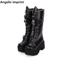 Lolita Boots Angelic Imprint Platform-Shoes Rivets High-Heels Women Motorcycle Woman