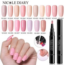 NICOLE DIARY One Step Gel Nude Colors Nail Polish Art 3 In 1 Soak Off UV Varnish Shining Glitter