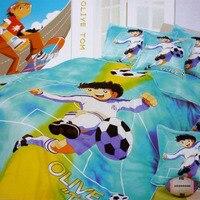 Japanese Anime Football Captain Tsubasa Kids Bedding Set Duvet Cover Bed Linens Twin Full Size Bedroom