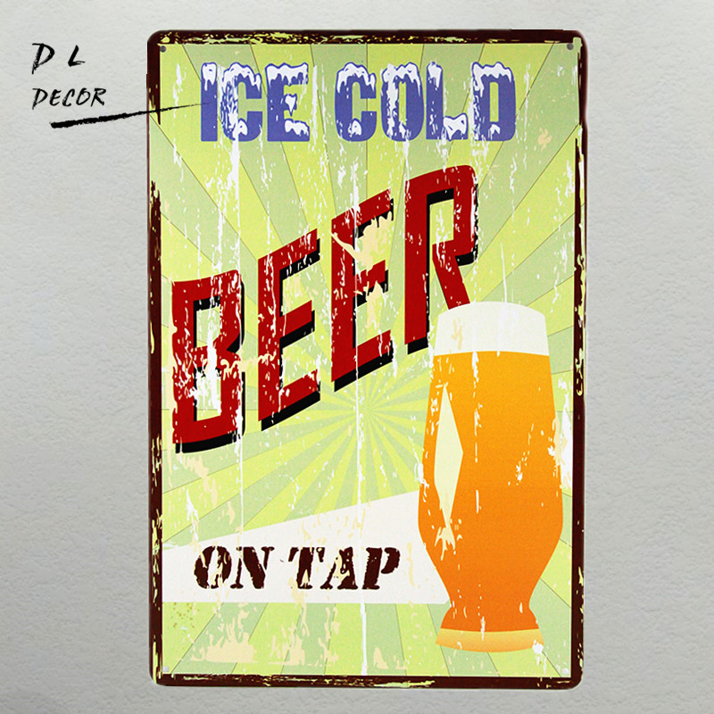 ᗔDL- ICE COLD BEER TIN SIGN Vintage Wall ART Decor Pub Poster Metal ...