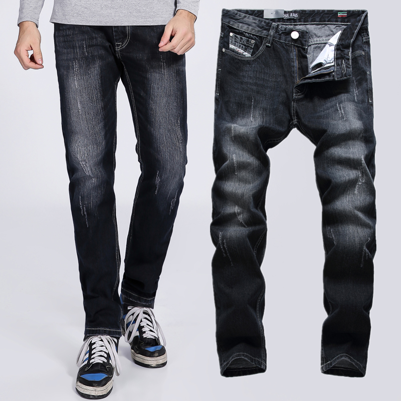 2017 High Quality Black Jeans Men Slim Fit Denim Jeans Ripped Trousers Male Original Brand Dsel Jeans With Logo 709 patch jeans ripped trousers male slim straight denim blue jeans men high quality famous brand men s jeans dsel plus size 5704