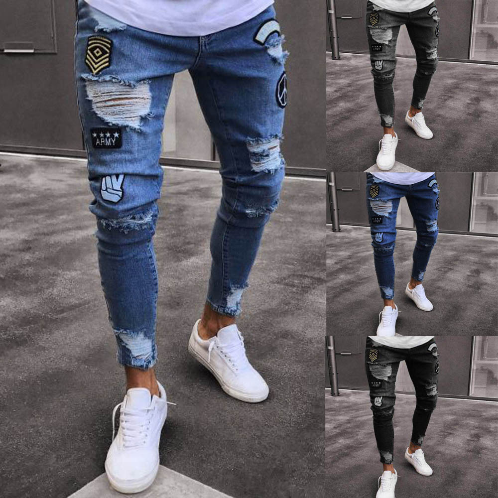 Men's Casual Tight Riding Jeans Destroy Frayed Jeans Badge Holes Feet Jeans Slim Jeans Denim Pants Distressed Rip Trousers Y426