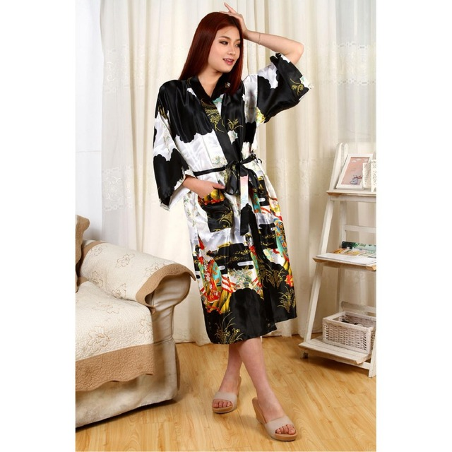 New Fashion Black Chinese Women' s Novelty Bathrobe Printed Nightwear Kimono Gown Dropshipping Size S M L XL XXL XXXL