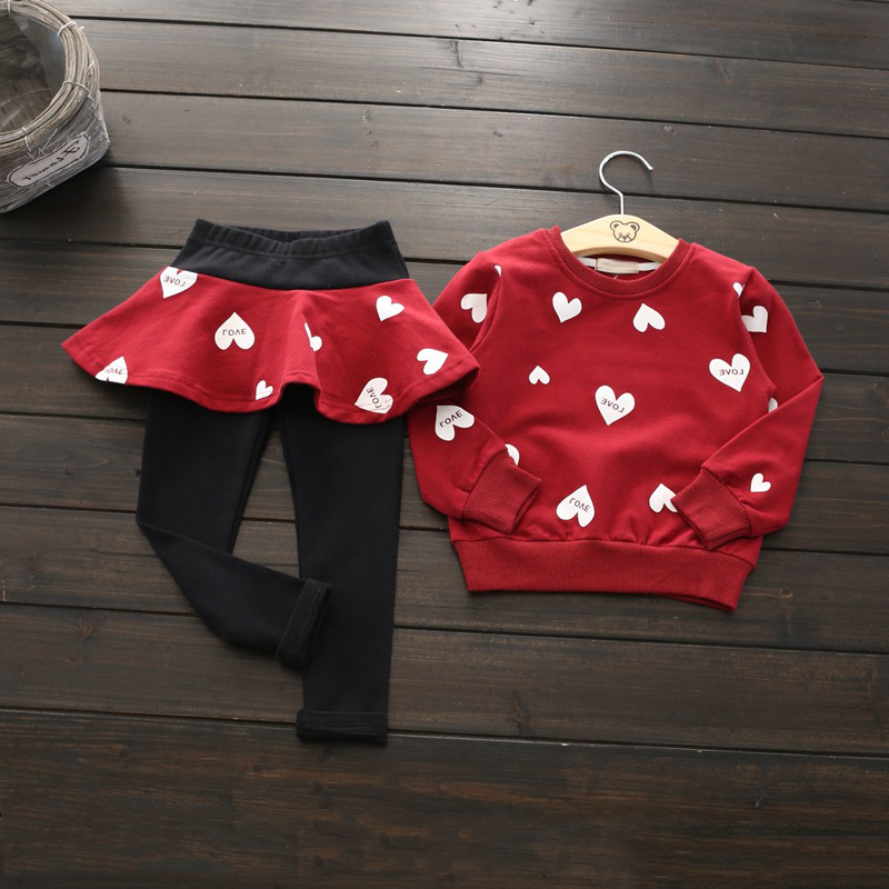 children clothing 2017 new autumn/winter girls clothing top long sleeve heart printed pullover+skirt pants 2pcs kids tracksuit autumn new cartoon elephant printed long sleeve children sweater boy girl pullover top shirts sweatshirt clothing