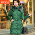 Тонкий Heigh Качество Зимнее пальто женщин 2016 Зимой Женщины Hodded куртка одежда Среднего Возраста Дамы Длинные Пальто и Куртки M85