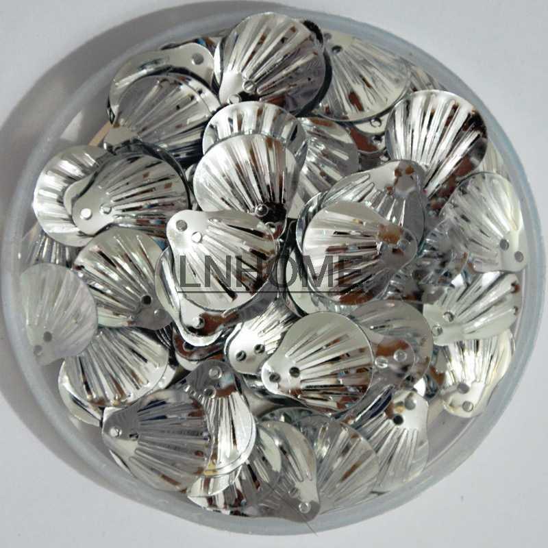 450 adet 13mm Kabuk Gevşek PVC Pul El Sanatları için Çocuk Dikiş DIY Elbise Giyim Aksesuarları Gümüş Payetler