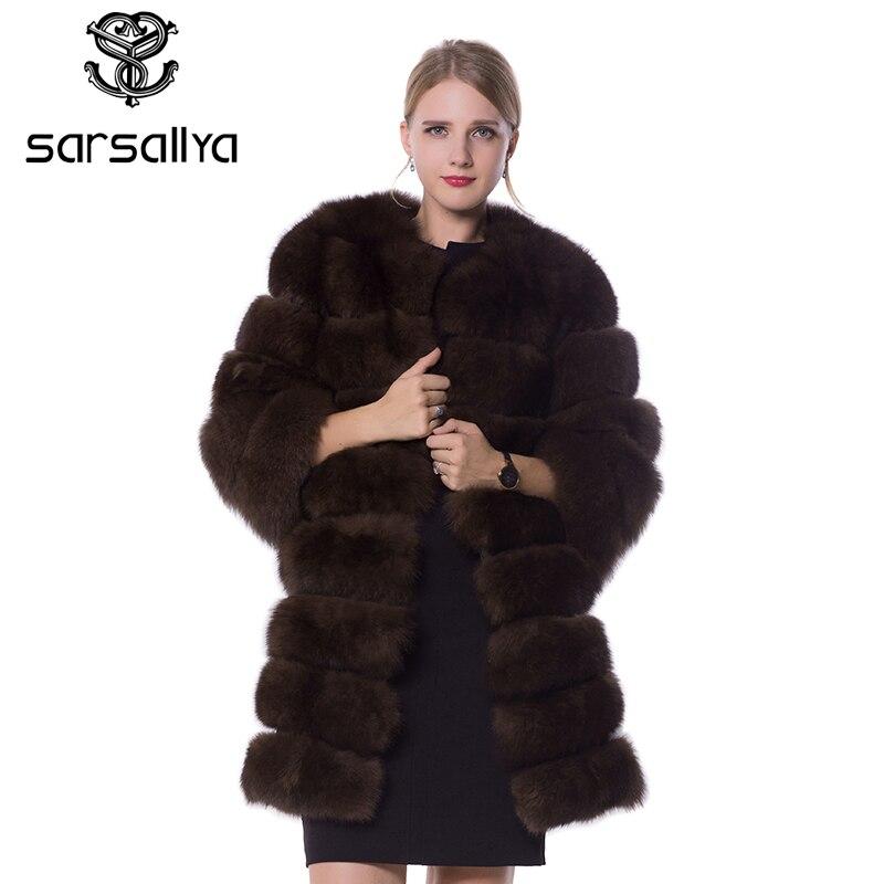 SARSALLYA réel fourrure de renard manteau de fourrure conception dames hiver vraiment fourrure de renard manteau détachable réel manteau de fourrure wome