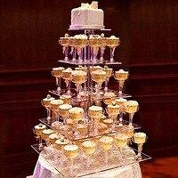5 Tier Acrylic Cake Display Stand Round Macaron Tower Cake Stand Transparent Tray Display Rack Wedding Birthday Cake Decor Tools