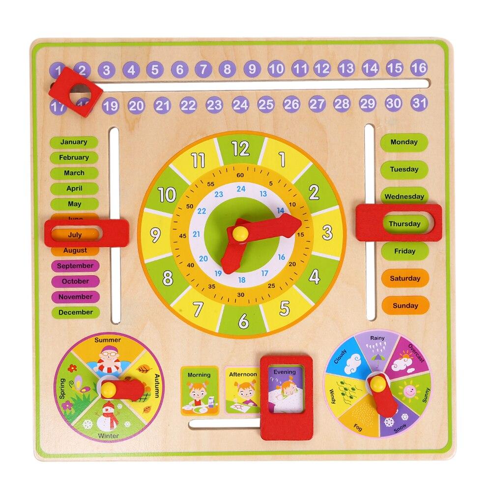 Holz Kognitiven Kalender Uhr Spielzeug Multifunktions Früherziehung Spielzeug Kalender Monate Datum Wetter Woche Saison Lernen Blöcke