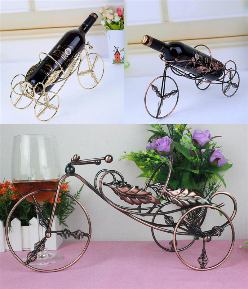 1PC Wine Rack Iron Holder Stand Bronze Coated Bike Style Red Wine Holder For Party Supplies
