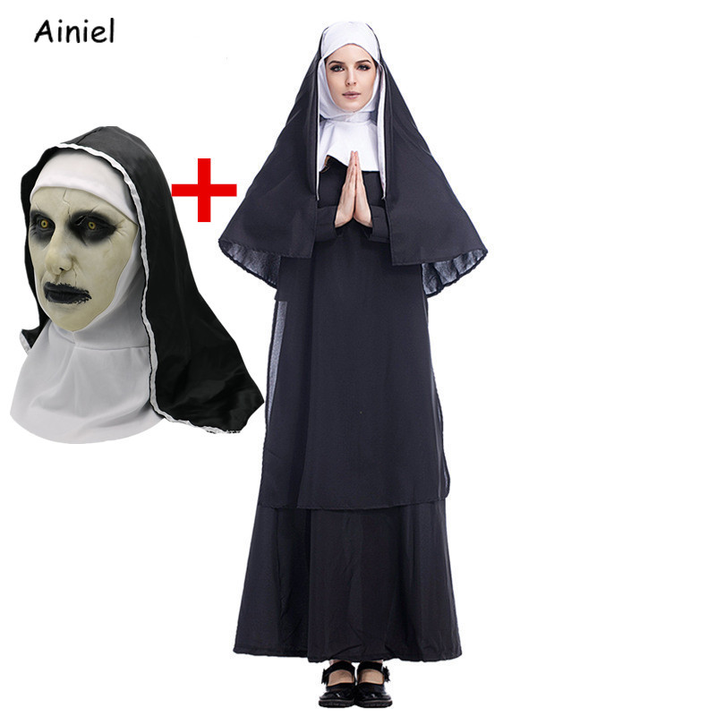 Virgin Mary The Nun Cosplay Costumes Mask Adult Long Black Scary Nuns Ghost Clothes Uniform  Halloween Party Horror Latex Props