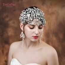 YouLaPan HP240 הכלה נזר בעבודת יד קריסטל חתונת שיער תכשיטי Fascinators לחתונה ריינסטון חתונה כתר Headpieces