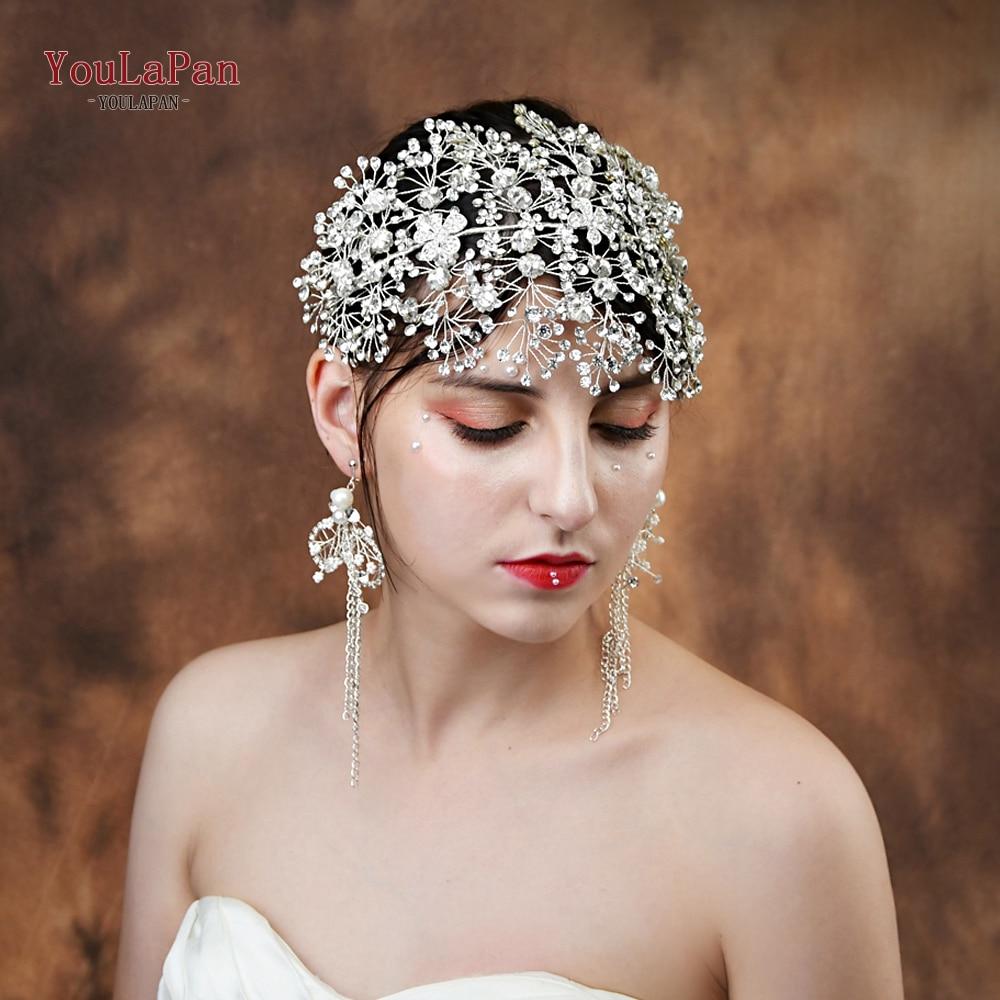 YouLaPan HP240-S Bride Tiara Handmade Crystal Wedding Hair Jewelry Fascinators For Wedding Rhinestone Wedding Crown Headpieces