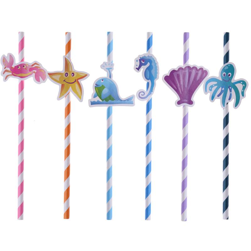 10pcs Party Supplies Cupcake Cake Topper Inserted Card Cartoon Baby Shower With Paper Straw Kids Birthday Baking Decoration
