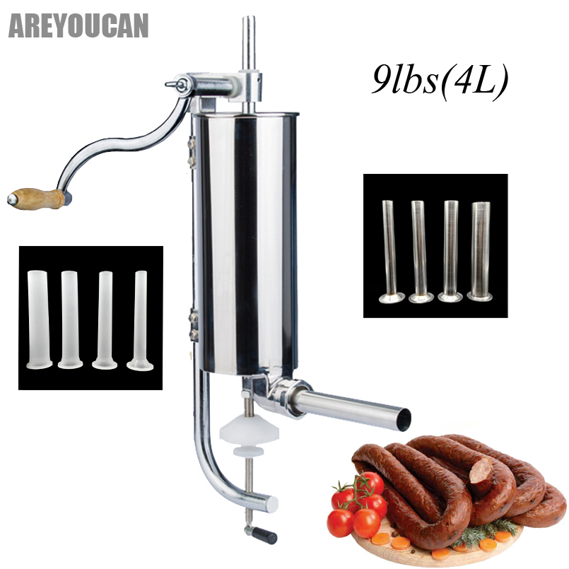 9lbs Stainless Steel Sausage Maker 4L Manual Sausage Stuffer Machine Making Filling Vertical Sausage Filler Meat