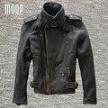 Capa de la chaqueta de los hombres 100% piel de vaca cuero genuino de la vendimia chaqueta de la motocicleta de cuero real abrigos veste cuir homme cappotto LT1025