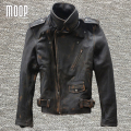 Vintage genuine leather jacket coat men 100% cowskin motorcycle jacket real leather coats veste cuir homme cappotto LT1025