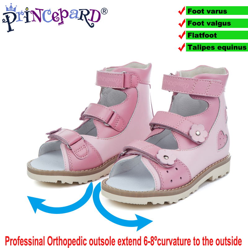 Princepard 2019 High Orthopedic Sandals For Girls Pink Heart Pattern Girls Summer Shoes Size 20-36 Genuine Leather Sandals