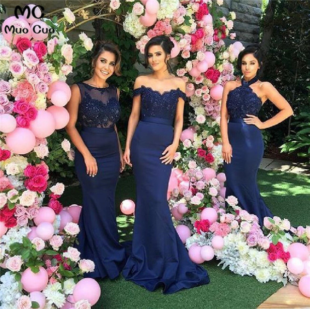 2018 Navy Blue Mermaid Bridesmaid Dresses Long With Abc Design