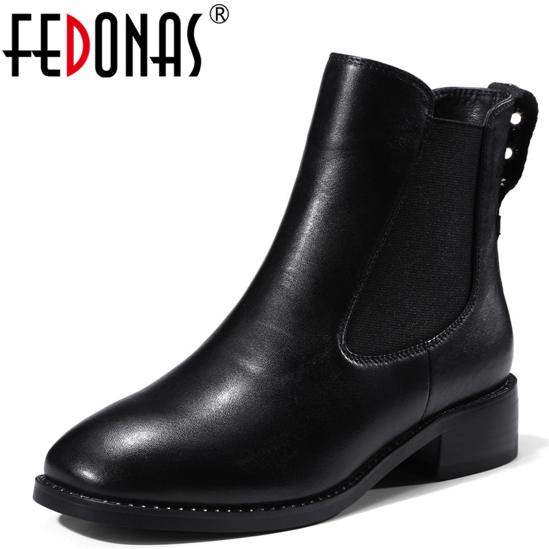 FEDONAS Fashion Women Punk Black Chelsea Boots Genuine Leather Autumn Winter Martin Shoes Woman Sexy Short Motorcycle Boots women martin boots 2017 autumn winter punk style shoes female genuine leather rivet retro black buckle motorcycle ankle booties