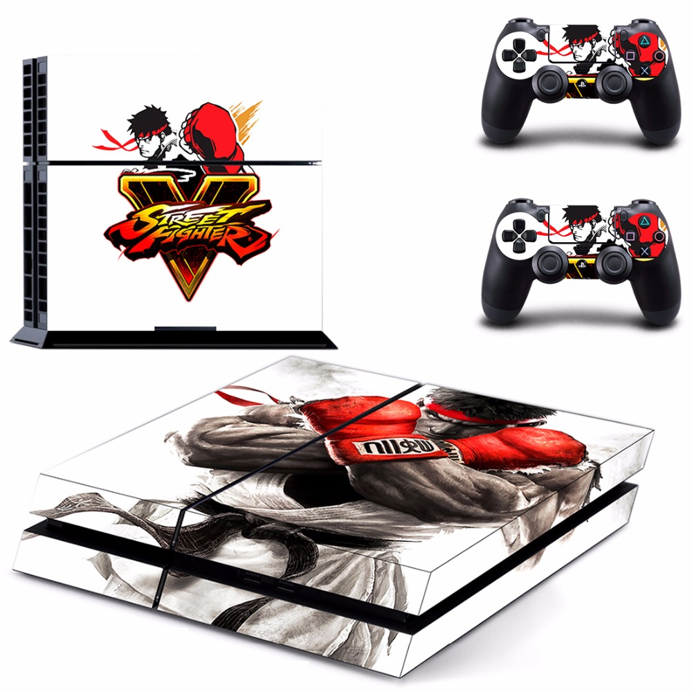 Ps4 street fighter v whole body vinyl skin sticker decal cover for ps4 playstation 4 system console and controllers
