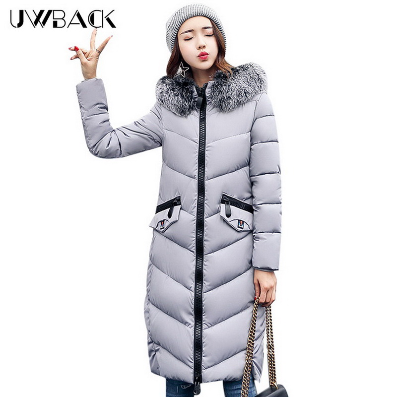 Uwback Women Winter Jacket Faux Fur Hood 2017 New Female Wadded Jacket Long Cotton Padded Coat Mujer Warm Parka Slim ,EB249 2015 new noble leopard blending retro long leather fur jacket women s contrast color stitching faux fur coat female h1530