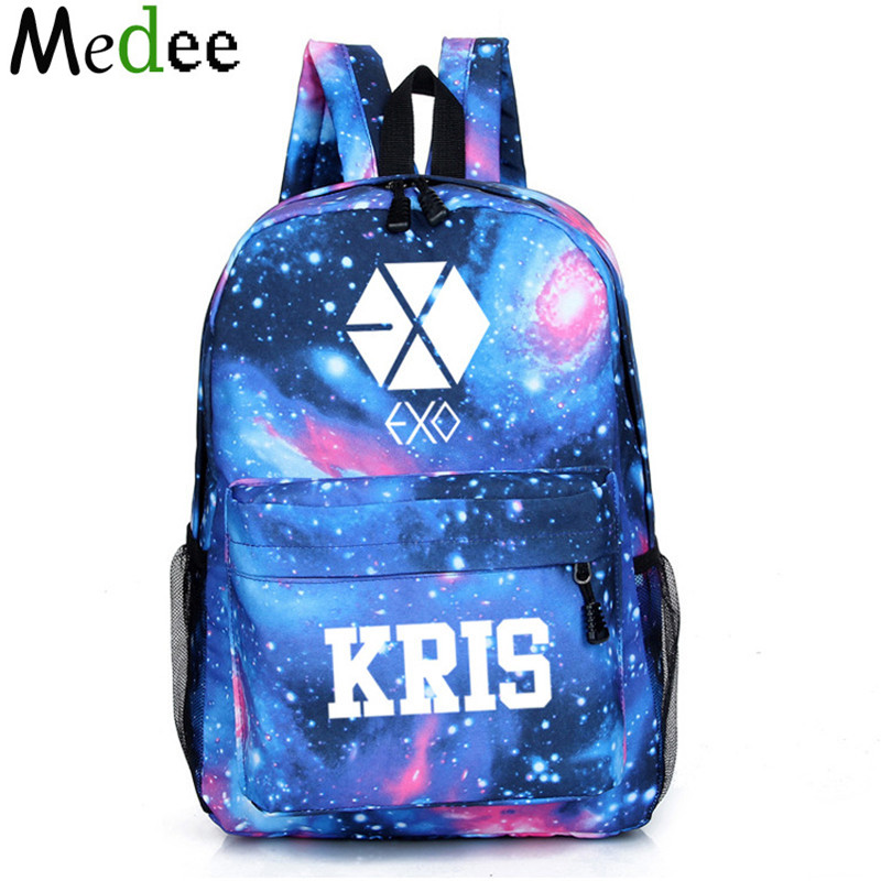 Space Backpack Female EXO Bag Backpacks For Teenage Girls And Boys Travel Canvas School Bags For Teenagers Mochilas UBH093 wilicosh brand preppy style women backpack canvas school bag for teenagers girls cute cat bag travel accessories backpacks wl113