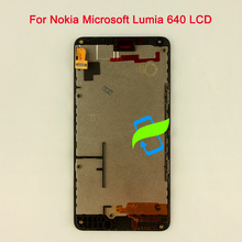 цена на 5 Original Quality For Nokia Microsoft Lumia 640 LCD Display Touch Screen Digitizer Assembly w Frame For NOKIA 640 LCD 1280X720