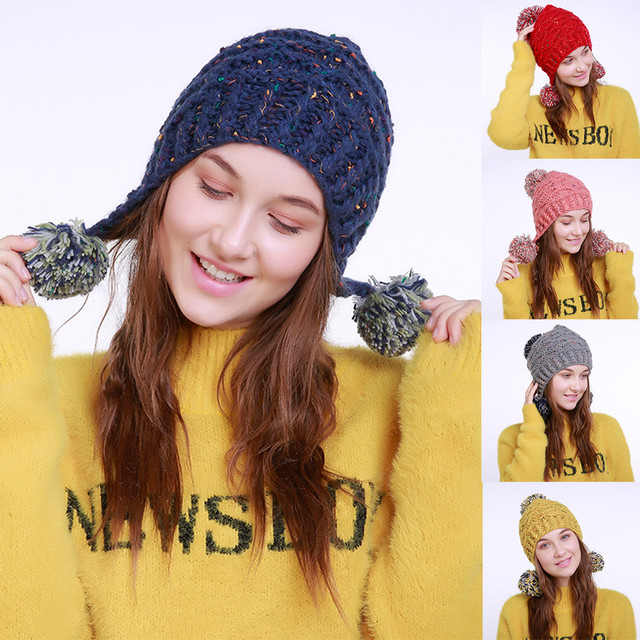 cbac9c7eef738 New Style Fashion Women Female Hat Warm Crochet Winter Wool Knit Ski Beanie  Skull Caps Hat Hairy Bulb For Women  20