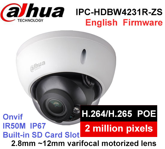 Dahua H2.65 IPC-HDBW4231R-ZS IP Camera 2.8mm ~12mm varifocal motorized lens 2MP IR50M with sd Card slot POE network camera цена