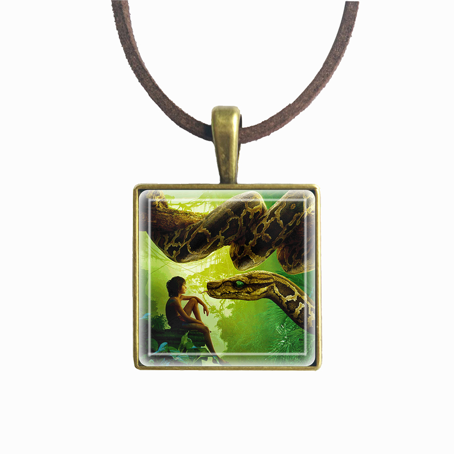 The Jungle Book Pendant Collection Baloo Bear Black Panther Monkey Snake Tiger Vintage Square Necklace Best Friend Necklaces ...