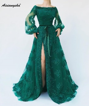 2019 New Listing Green Evening Dresses Sheer A-Line Off The Shoulder Sleeves Hand-Beading Lace Long Evening Dress De Soiree