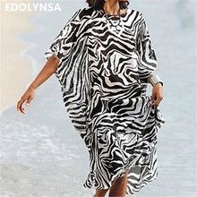 Loose Casual Zebra Striped Kaftan Beach Dress Plus Size Tunic Women Summer  Beachwear Sundress Robe de plage pareo sarong N638 185a4ebeaeee