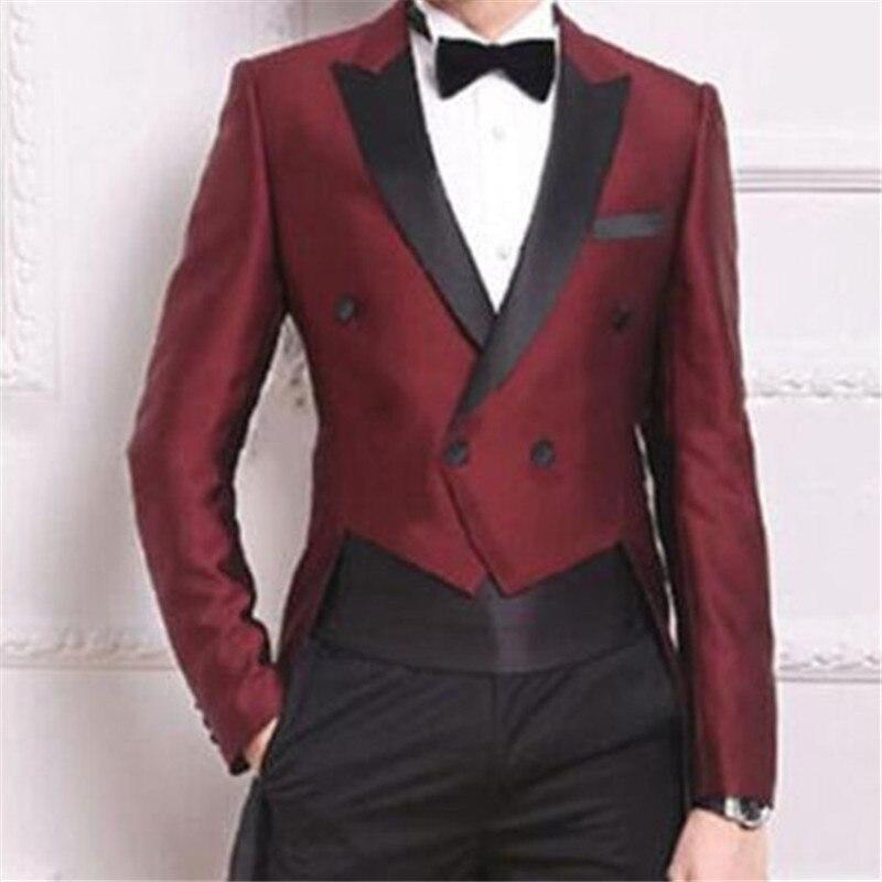 Wine Red 색도 연하지도 꼬리 Coat Men 한 벌 대 한 웨딩 2 Pieces (Jacket + Pants + Tie) 패션 Custom Homme Terno Slim Fit Blazer 444-에서정장부터 남성 의류 의  그룹 1