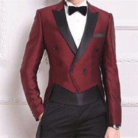 Wine Red Swallow Tailed Coat Men Suits For Wedding 2Pieces(Jacket+Pants+Tie) Fashion Custom Homme Terno Slim Fit Blazer 444