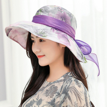 HT1633 New Fashion Packable Summer Sun Hat Women Ladies Korea Style Wide Brim Floral Flower Print with ribbon Bow Panama