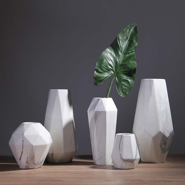 Marble Texture Flower Pots Planters Table Top Flower Vases Home