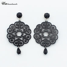 Fashion Jewelry female vintage brincos New Ethnic style Long Acrylic Earrings for women Pendientes gifts black and red colors(China)