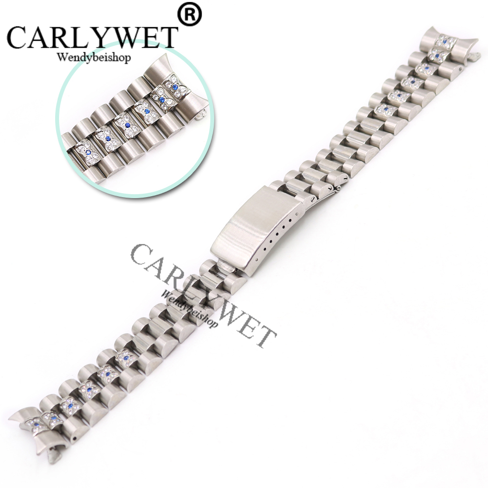 CARLYWET 20mm Silver Screw Solid Links Hollow Curved End Crystal Inserted Deployment Clasp Wrist Watch Band Strap Bracelet carlywet 22 24mm silver solid screw links replaceme 316l stainless steel wrist watch band bracelet strap with double push clasp
