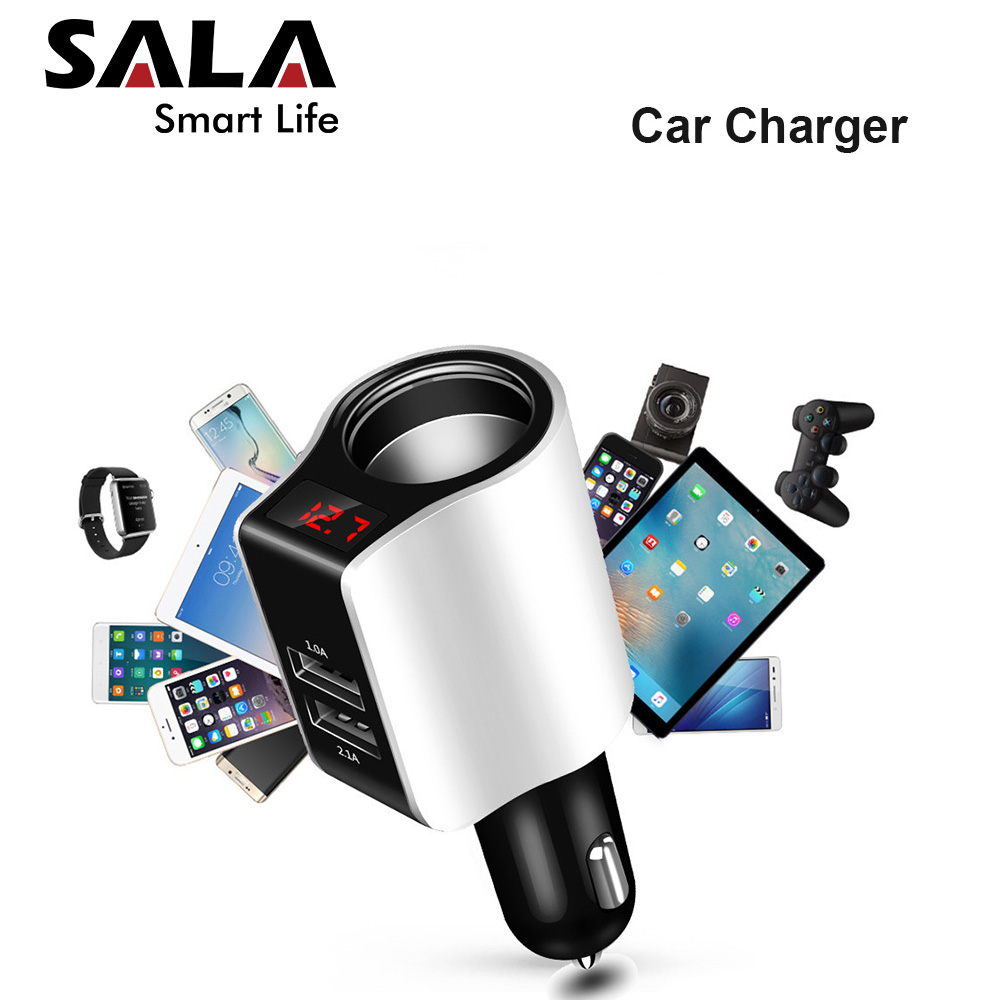 Universal Car Charger Double USB Quick Charger 3.0 5 Volt 2.1A for Iphone 7 8 Cell Phone Fast Charger for Samsung s8 s9 Huawei-in Camera Charger from Consumer Electronics