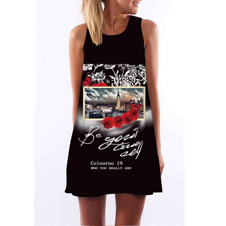 Women Dress 18 New Style Summer Dress Casual Beach Dress Floral Print Tunic Sleeveless Short Chiffon Dress Vestido de renda 17