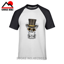 Cute Steampunk Snow Leopard Cub T Shirt 2019 summer Men Short Sleeve O-Neck India Ganesha T-shirt Cotton Shiva The God Top Tee(China)