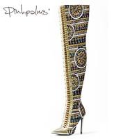 Розовые ладони женская обувь зимние Тканевая обувь с блестками выше колена сапоги на высоком каблуке с перекрестной шнуровкой международн...