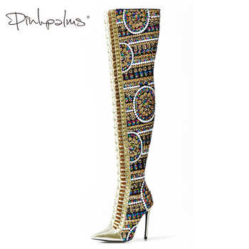 Pink Palms Winter Shoes Women SHiny Sequined Cloth Over the Knee Thigh High Boots Cross Tied International Show Boots Women - DISCOUNT ITEM  50% OFF All Category