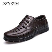 ZYYZYM Men Sandals New Summer Shoes Genuine Leather Ventilation Men's Business Casual Shoes Man Brand Sandals Black brown