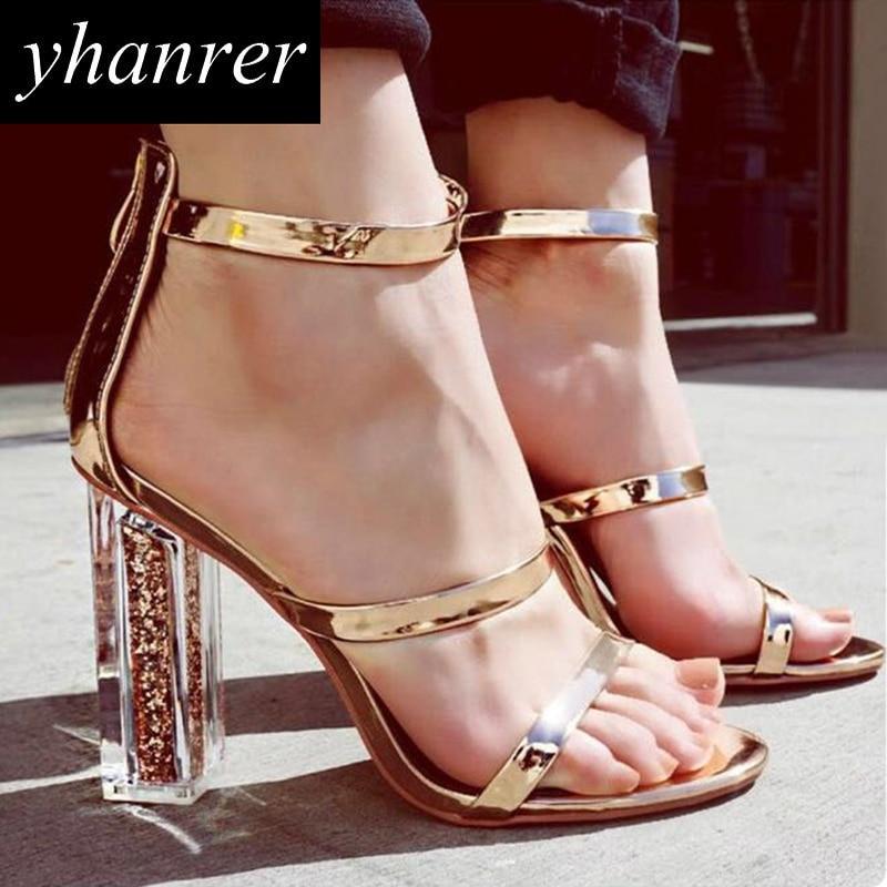 Las más nuevas Mujeres Sandalias Transparentes de Tacón Cuadrado Bombas Gladiador Romano Tacones Altos Verano Bling Stilettos zapatos de las señoras K494