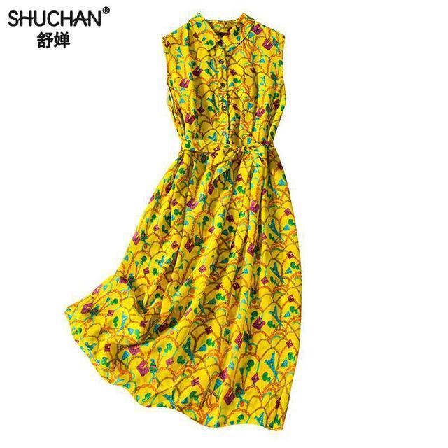 Shuchan Prairie Chic Silk Tank Dress With Sleeveless Sashes Print Knee-length Cute Dresses Summer Dresses With Floral Print