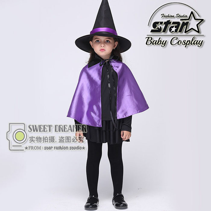 Halloween Cosplay Costumes Magic Girls Witch Performance Clothes With Purple Cloak Hat Fancy Ball Cosplay Kids Pleated Dress стоимость
