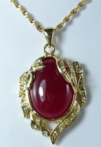 Venta caliente nuevo Estilo>>>>> Natural calcedonia de Color Rojo Colgante de Buda Collar 17''